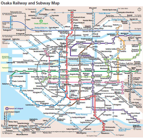 The Osaka Railway System looks this crazy. Who wouldn't get lost with that?