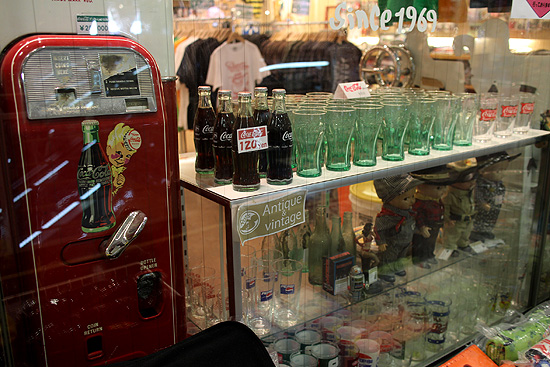 this store sold vintage Coca-Cola merchandise, among others