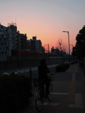 the sunset when we arrived at Shinsekai