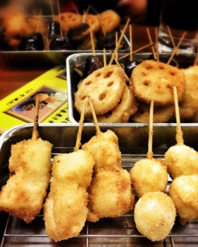 kushikatsu. fried food to be dipped in sweet and/or spicy sauce.