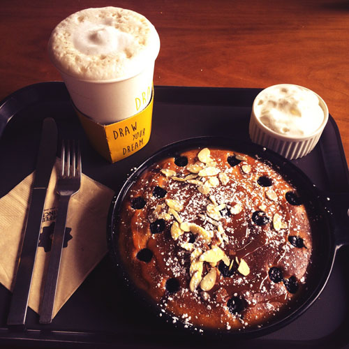 coffee and pancake for breakfast