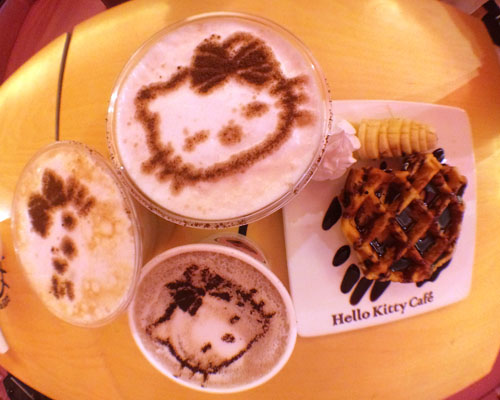 coffee and waffles from Hello Kitty Cafe in Hongdae
