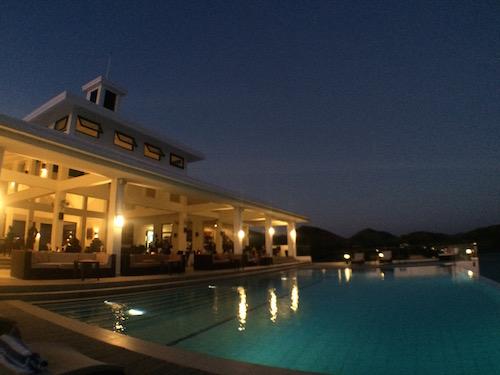 Busuanga Bay Lodge pool area by night