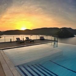 Sunrise over the pool area